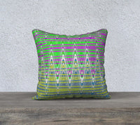Colorful pink green blue yellow Zigzag Pillow Case