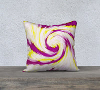 Swirl Bright Pink Yellow Abstract Pillow Case