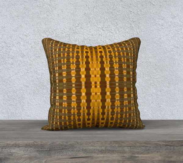 Yellow Gold Khaki Zigzag Pattern design Pillow Case