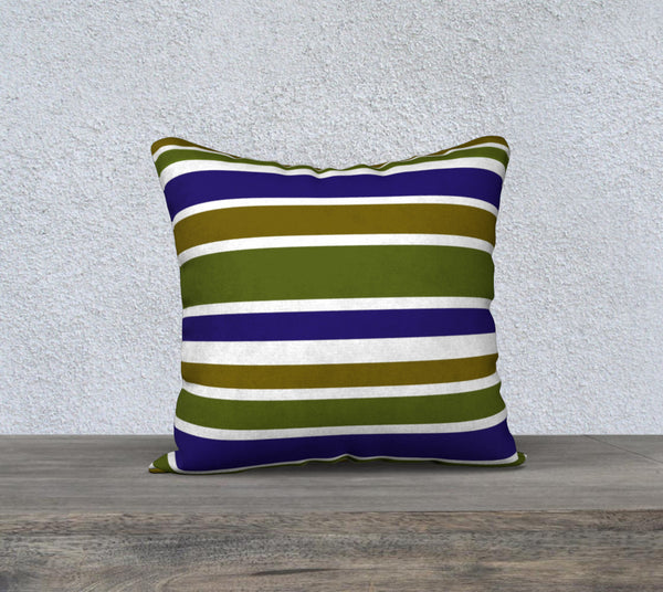 Striped Olive Green and Blue Pillow Case