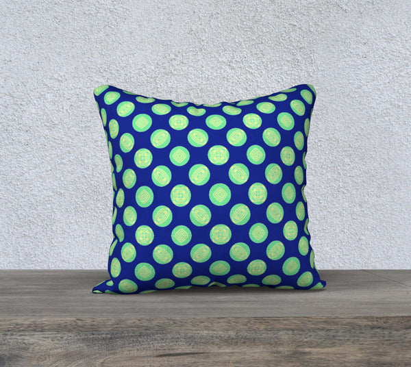 Retro Green Yellow Circles on Blue Pillow Case