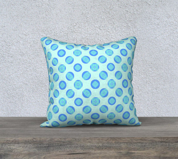 Retro Turquoise Blue Circles Pattern Pillow Case