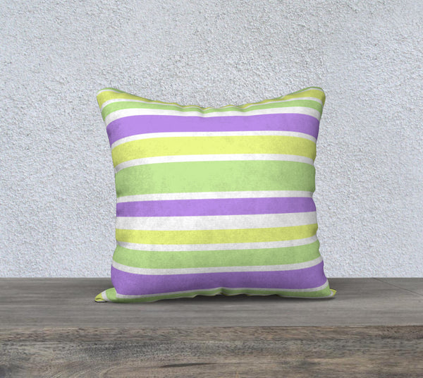 Striped Bright Green Yellow Purple Pillow Case