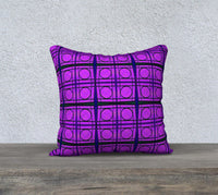 Mod Bright Pink Circles with Green Lines Pillow Case