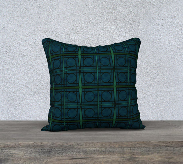 Mod Teal Blue with Green Stripes Circles Pattern Pillow Case