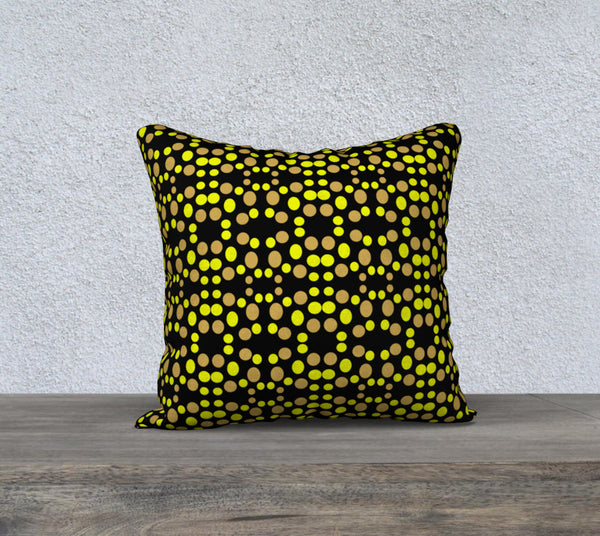 Polka Dots Yellow pattern on black Pillow Case