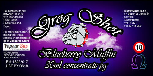 30ml Grog Shot Concentrate - Blueberry Muffin