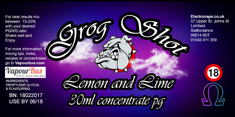 30ml Grog Shot Concentrate - Lemon and Lime