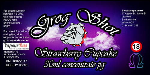 30ml Grog Shot Concentrate - Strawberry Cupcake