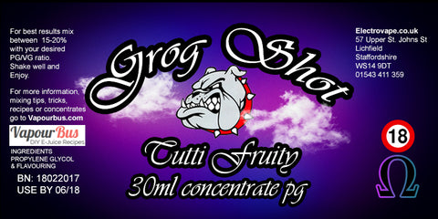 30ml Grog Shot Concentrate - Tutti Fruity