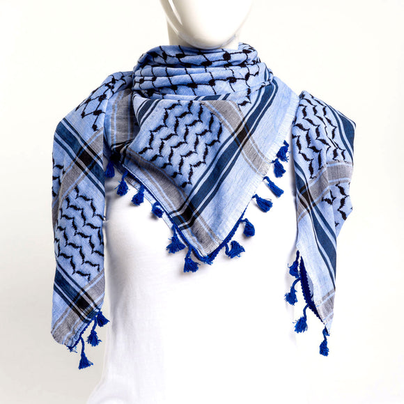 Authentic Hand Loomed Shawl (Blue Ripple)