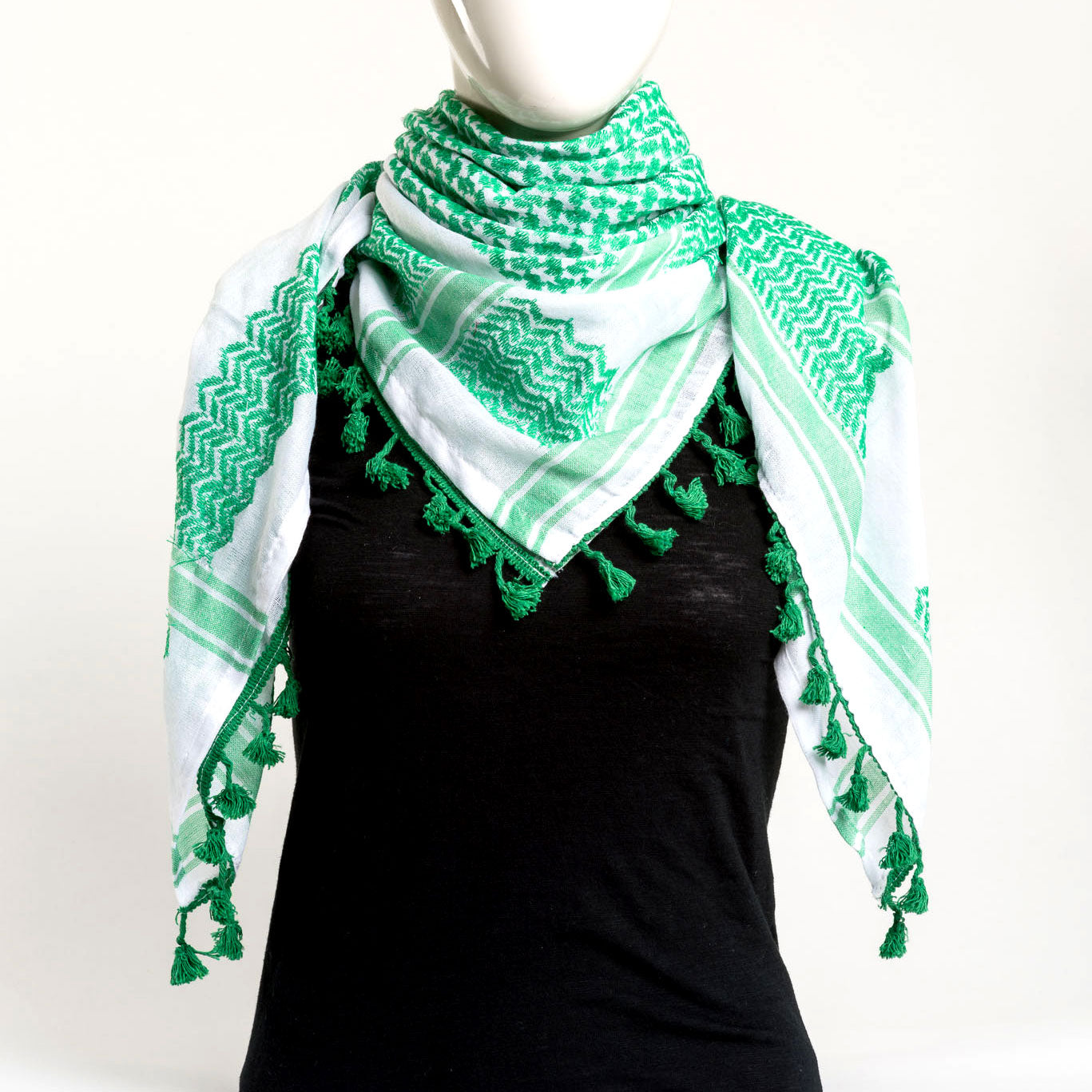 Authentic Hand Loomed Shawl (Moss (line green))