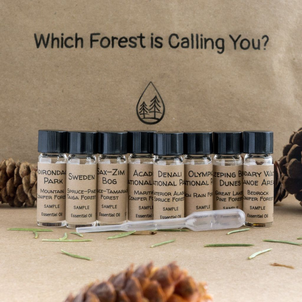 Forester John Essential Oil Sample Pack. Front image with spruce cones and needles.