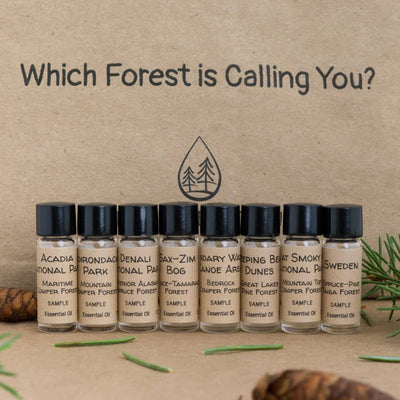 Essential oil samples group photo of woodsy scent