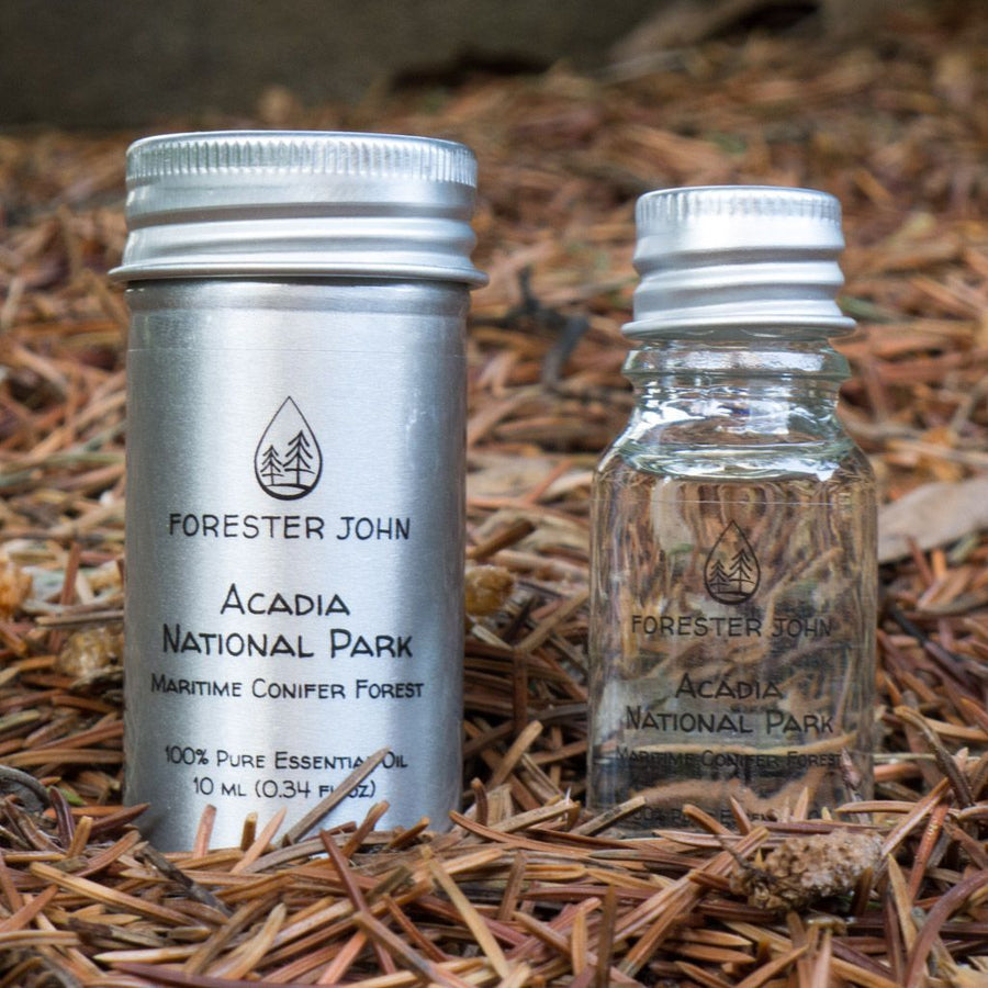 Side by side image of Acadia National Park Woodsy Essential Oil Forest Blend by Forester John
