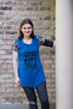 "Woman modeling hope tunic length without plackets. Vinyl quote on the blue shirt in black saying ""I can sew things."""