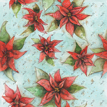 Poinsettias Light Green Background R1