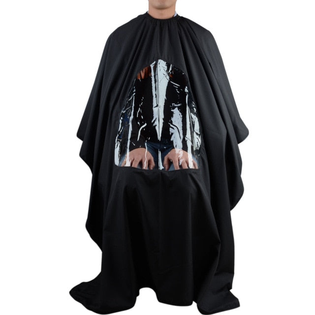 Pro Salon Barber Hair Cutting Gown Cape With Viewing Window Hairdresser Wrap Apron
