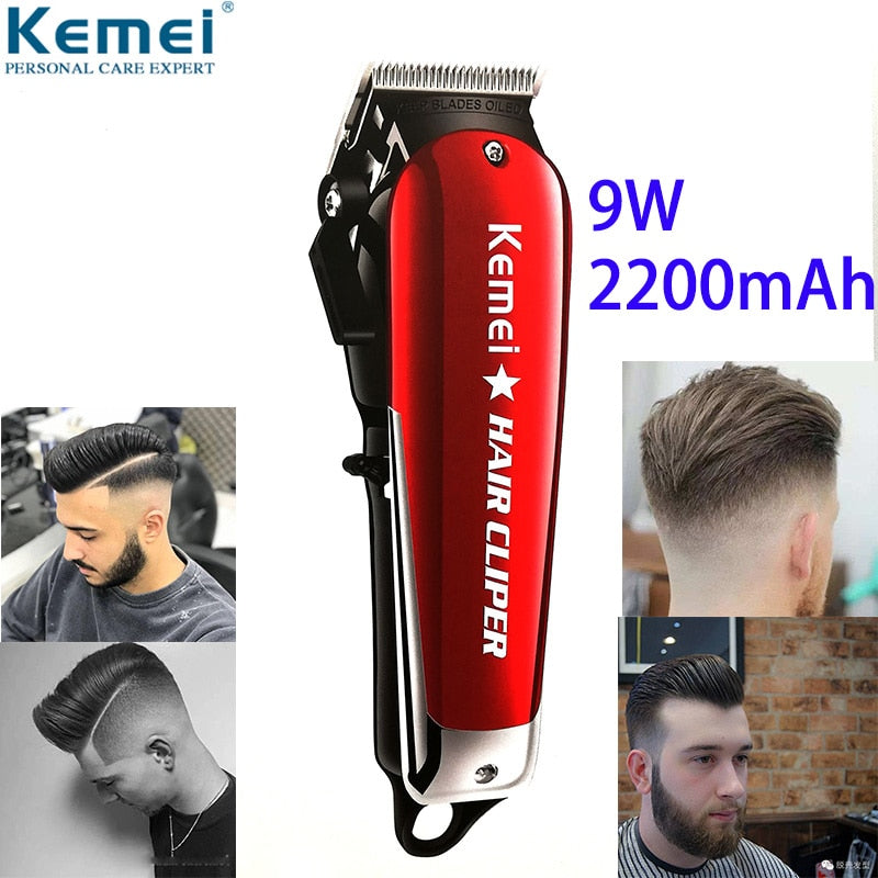 Kemei 9W Barber Powerful Hair Clipper Professional Hair Trimmer for Men Electric Cutter Hair Cutting Machine Haircut Salon Mower