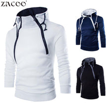 ZACOO Men's fashion T shirts Hooded Tops Casual Long Sleeve Double Zipper Hooded Tees  Simple Solid Color Hooded Tops san0