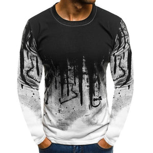 Printed Men Splash Ink T-shirts Brand New O-neck Tee Shirts Streetwear Long Sleeves Tee Tops New Casual Male Tops Plus Size 3XL
