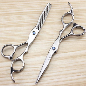 Professional 440c 6 inch sapphire hair scissors set hair clipper cutting scissor barber thinning shears hairdressing scissors
