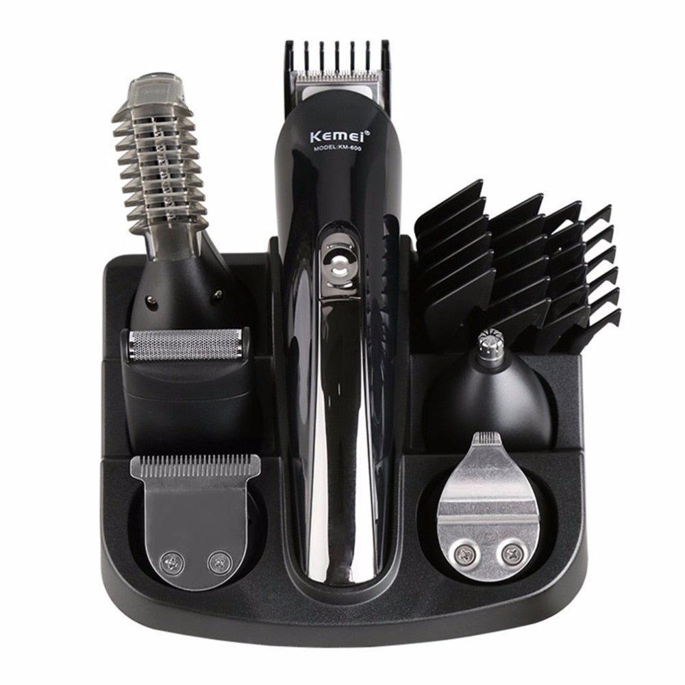 Kemei 6 in 1 Rechargeable Hair Trimmer Titanium Hair Clipper Electric Shaver Beard Trimmer Men Hair Care Styling Tools KM-600