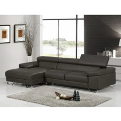 L-Shape Leather Sofa with Right Chaise