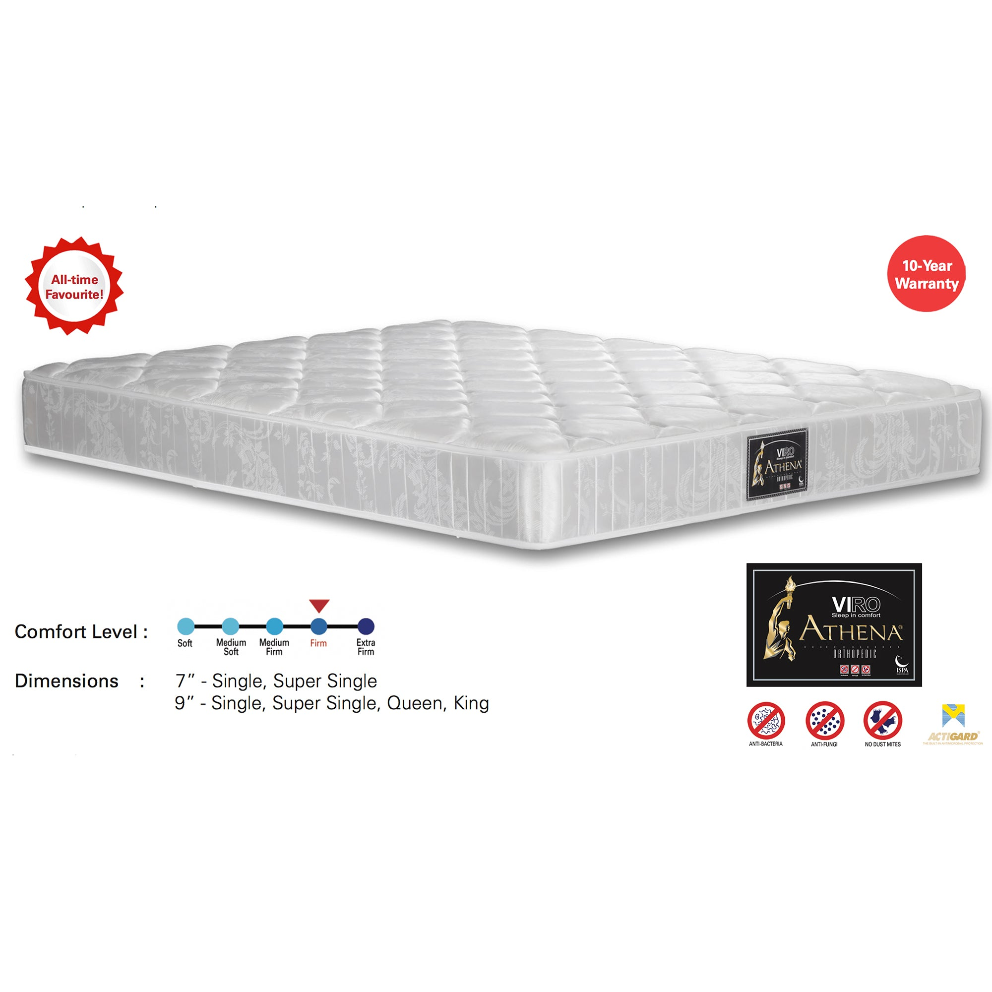 Viro Athena Spring Mattress (3 Feet Single Size x 7