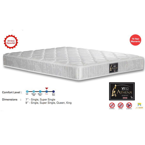 "Viro Athena Spring Mattress (6 Feet King Size x 9"" Thickness)"
