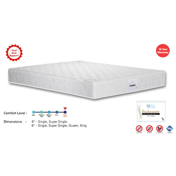 "Viro Backmaster Spring Mattress (6 Feet King Size x 9"" Thickness)"