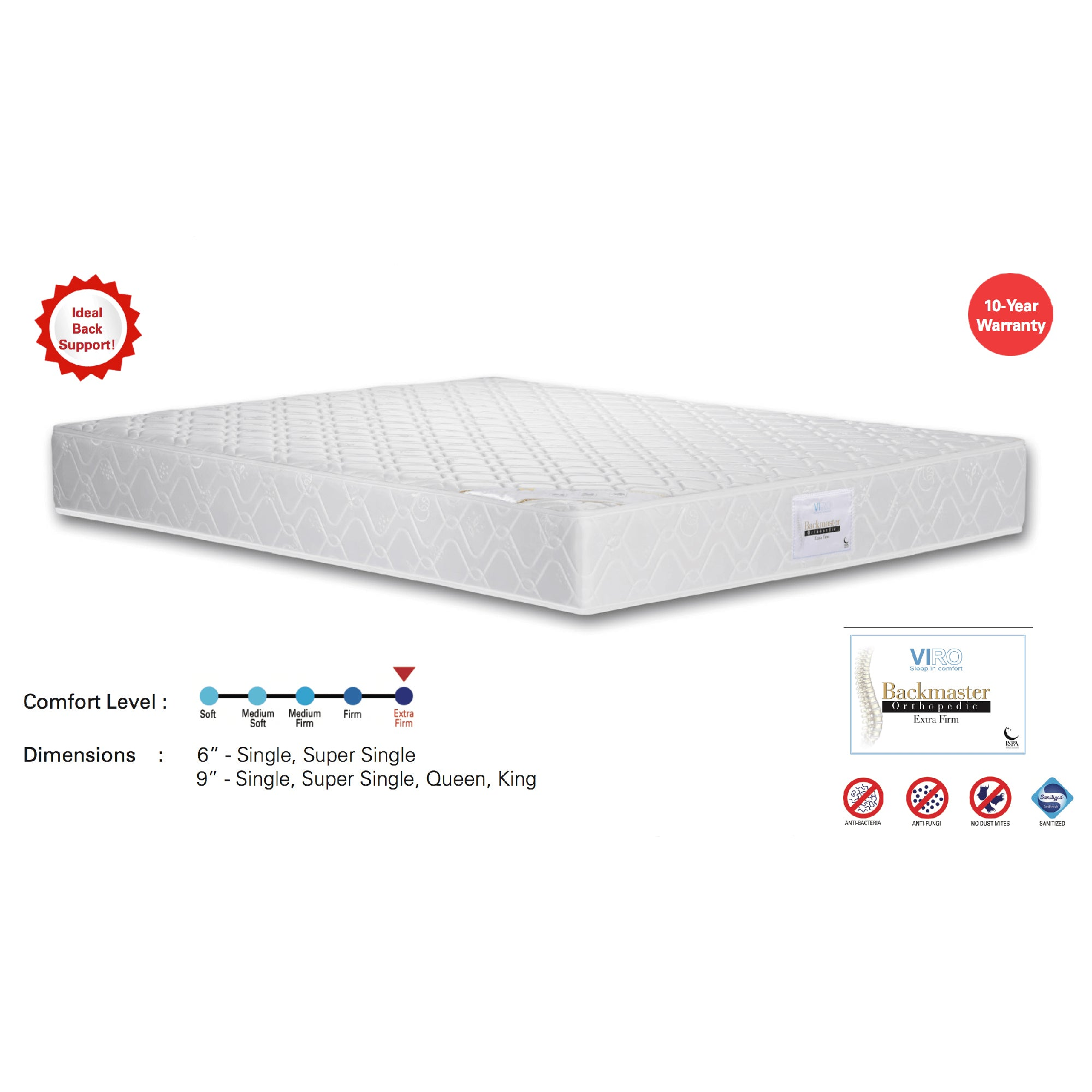 Viro Backmaster Spring Mattress (3 Feet Single Size x 9