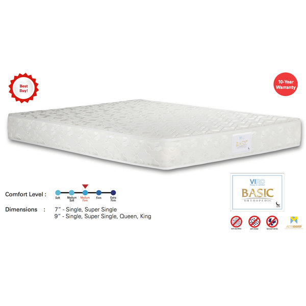 "Viro Basic Spring Mattress (5 Feet Queen Size x 9"" Thickness)"