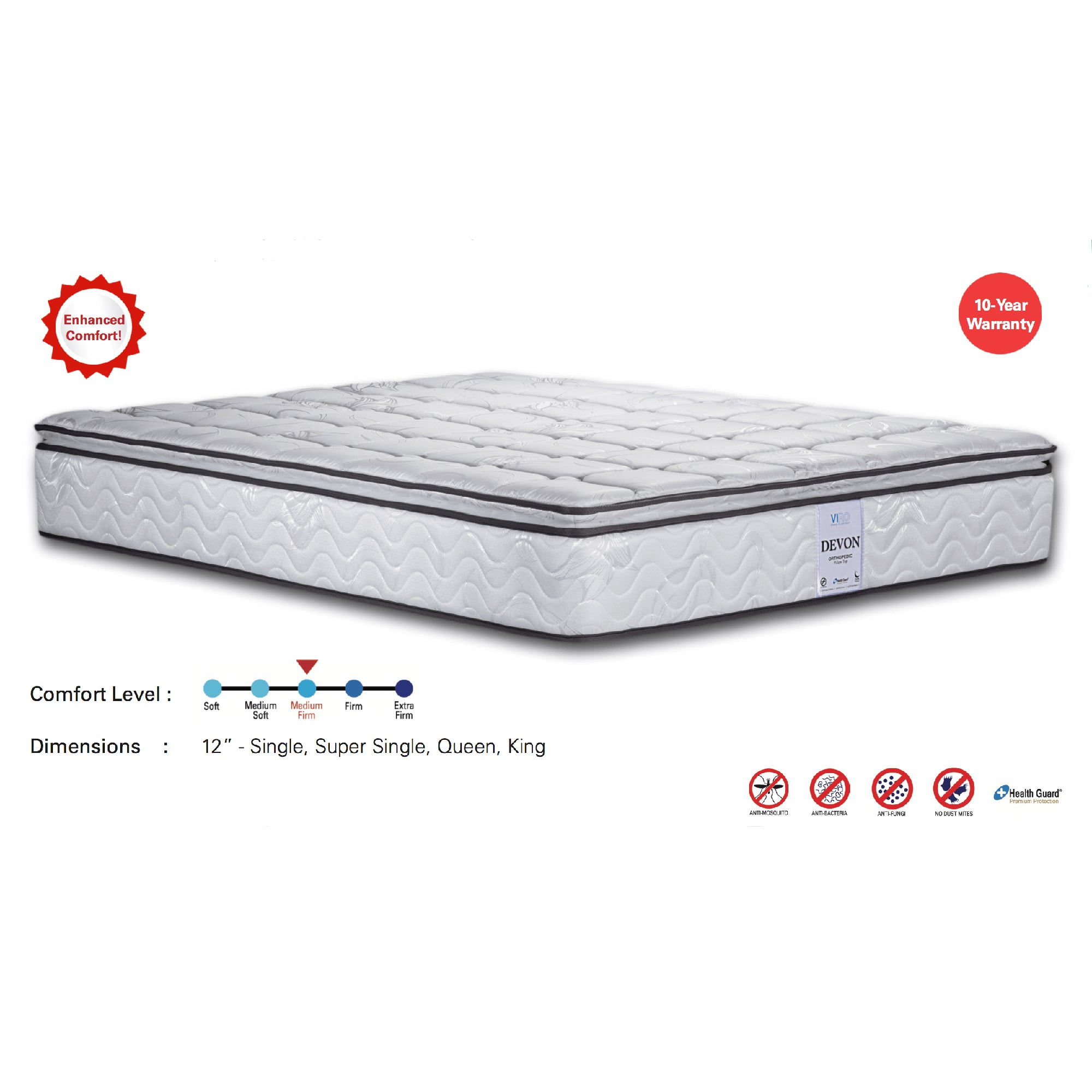 Viro Devon Spring Mattress (6 Feet King Size x 12