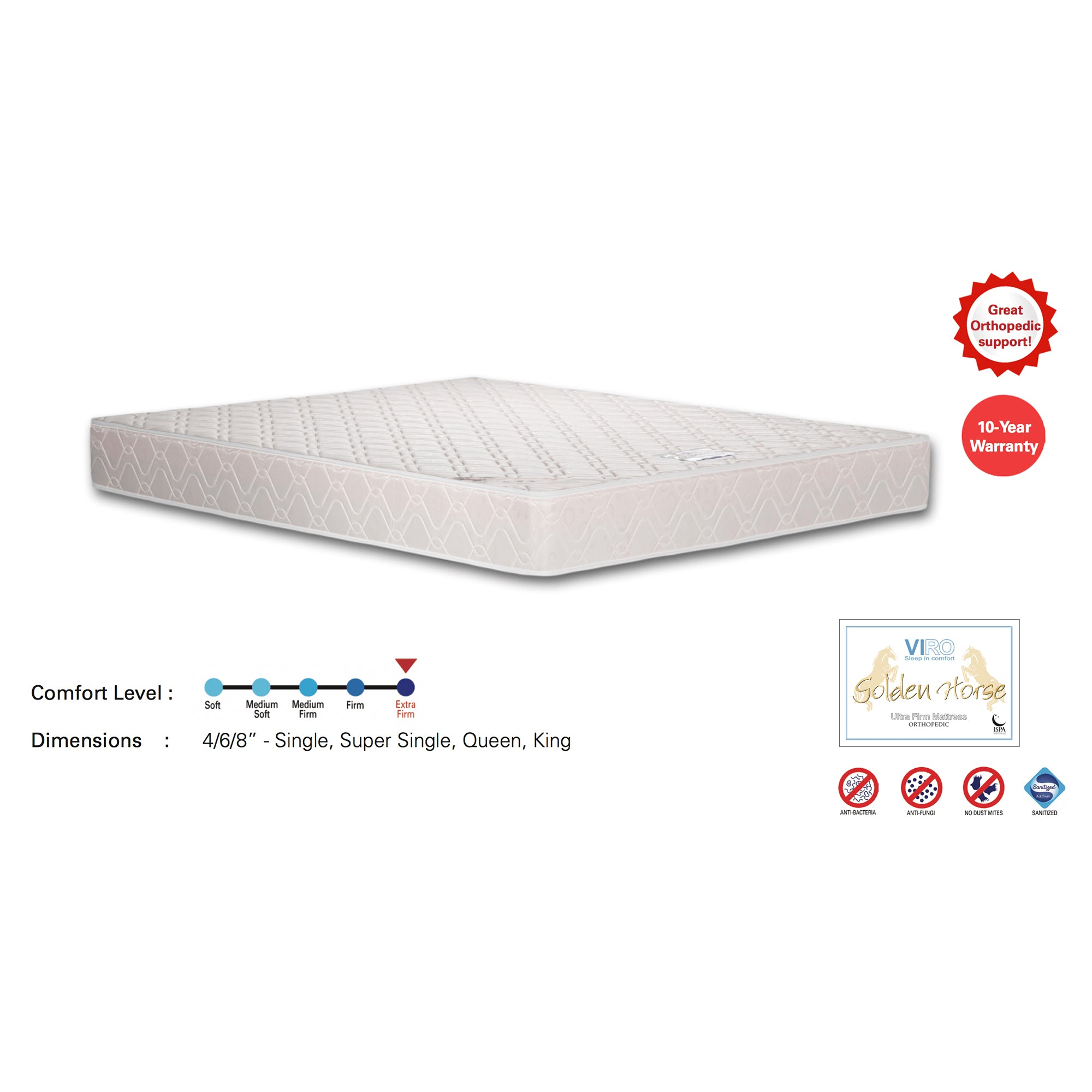 Viro Golden Horse Mattress (6 Feet King Size x 4