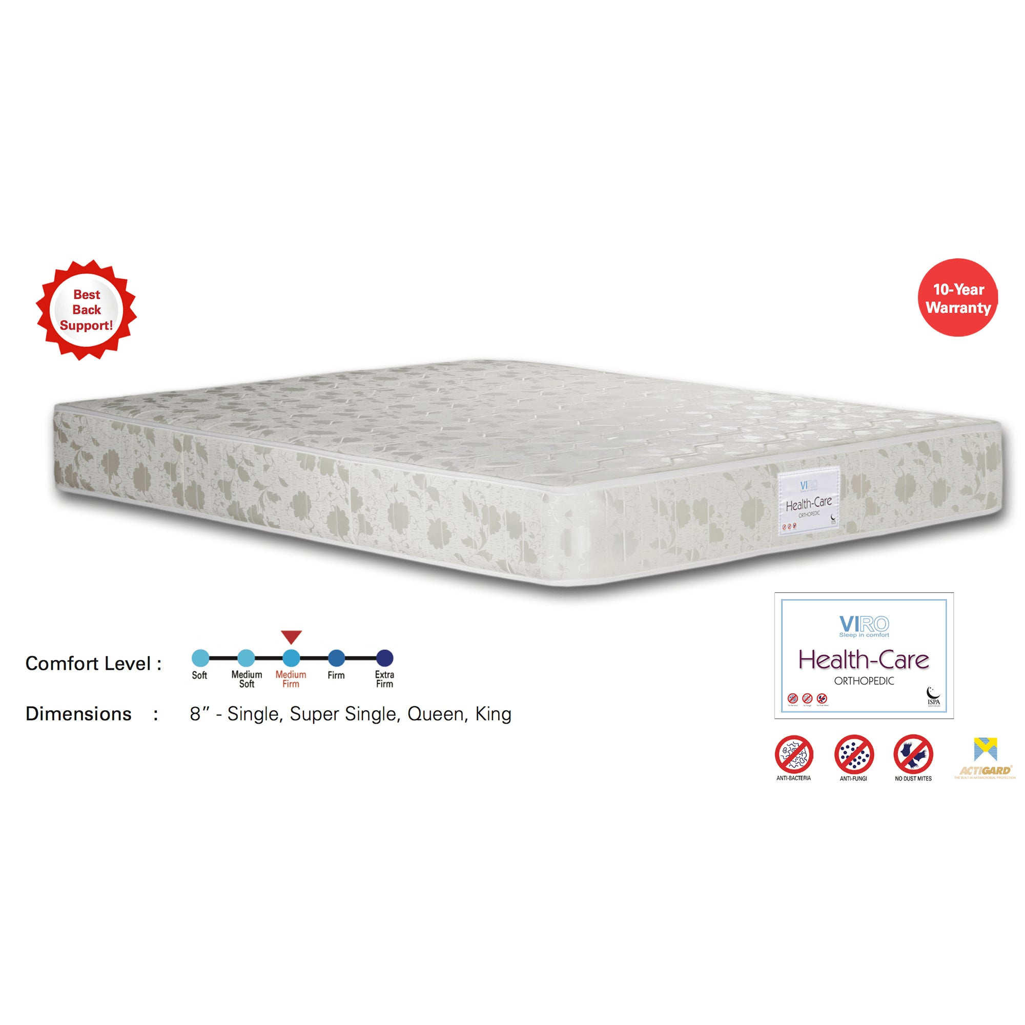 Viro Health-Care Spring Mattress (3 Feet Single Size x 8