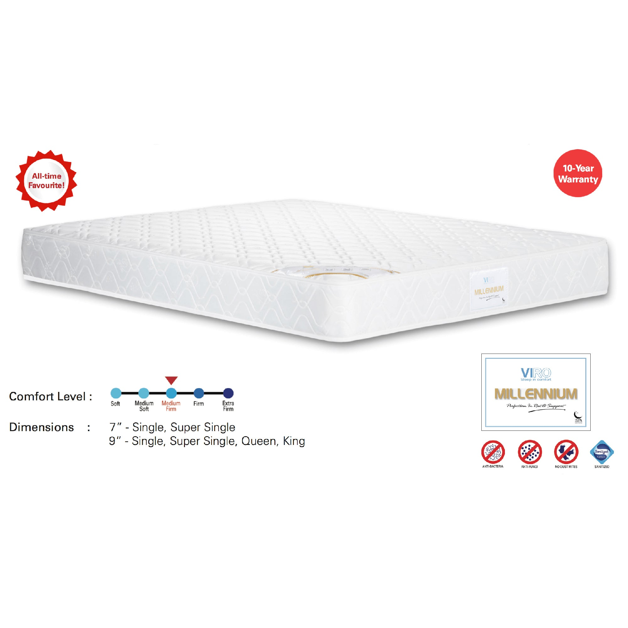 Viro Millennium Spring Mattress (3.5 Feet Super Single Size x 7
