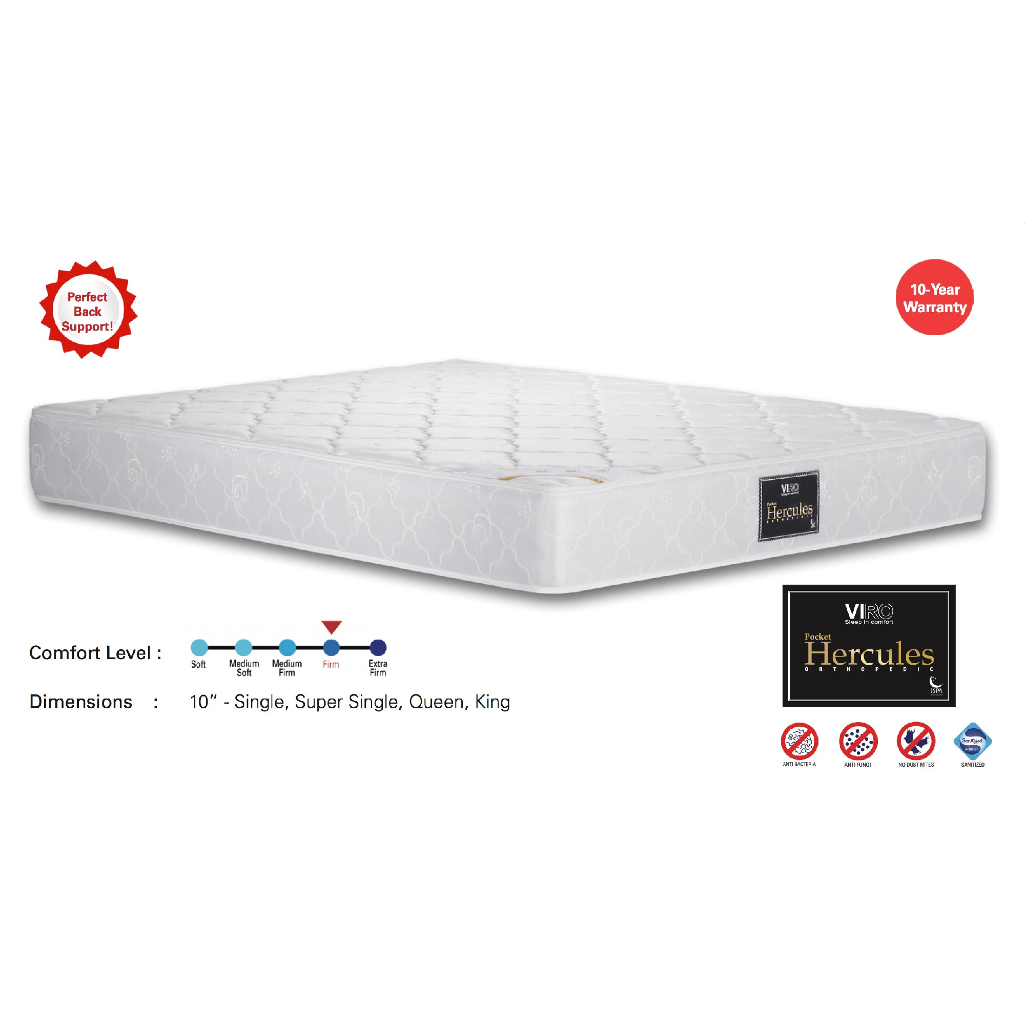 Viro Pocket Hercules Spring Mattress (3.5 Feet Super Single Size x 10