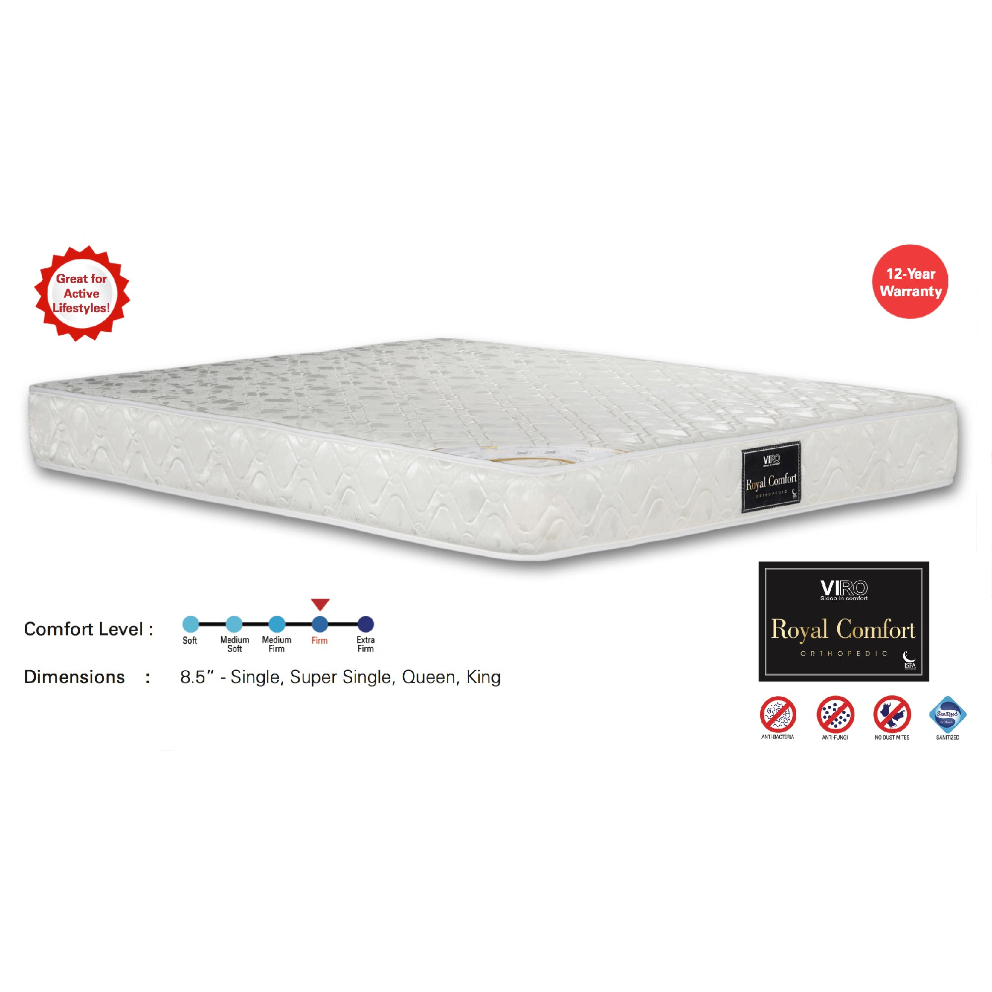 Viro Royal Comfort Pocketed Spring Mattress (3.5 Feet Super Single Size x 8.5