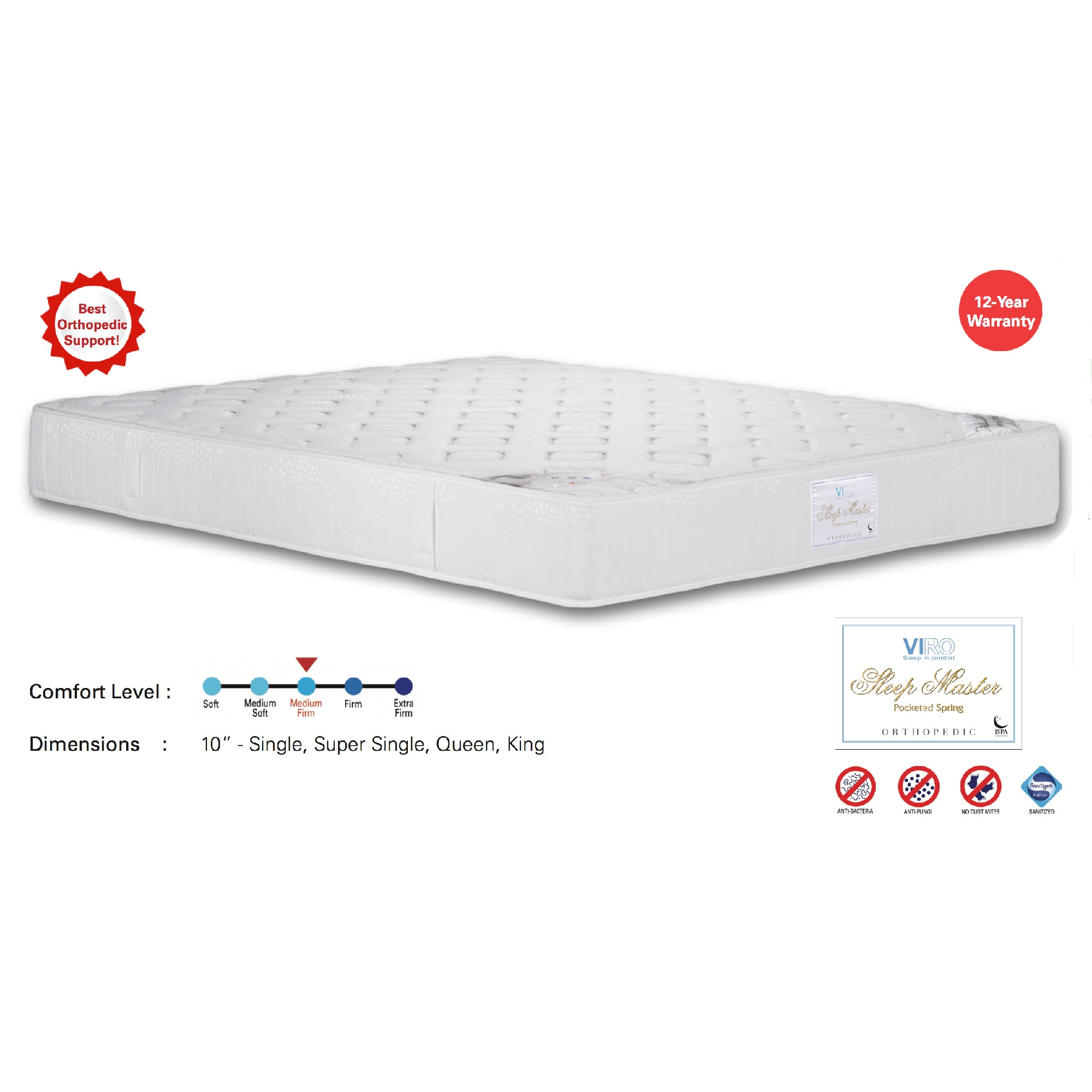 Viro Sleep Master Pocketed Spring Mattress (3 Feet Single Size x 10