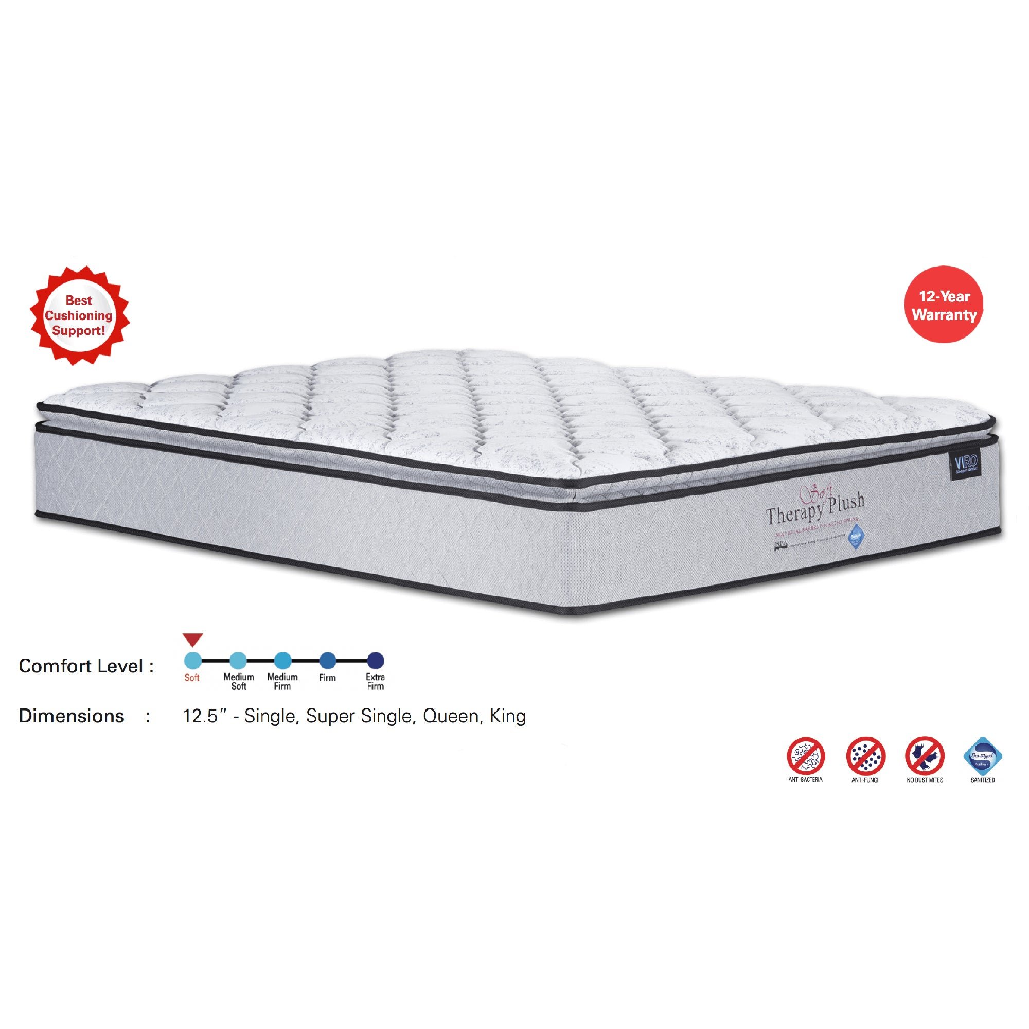 Viro Soft Therapy Plush Pocketed Spring Mattress (6 Feet King Size x 12.5