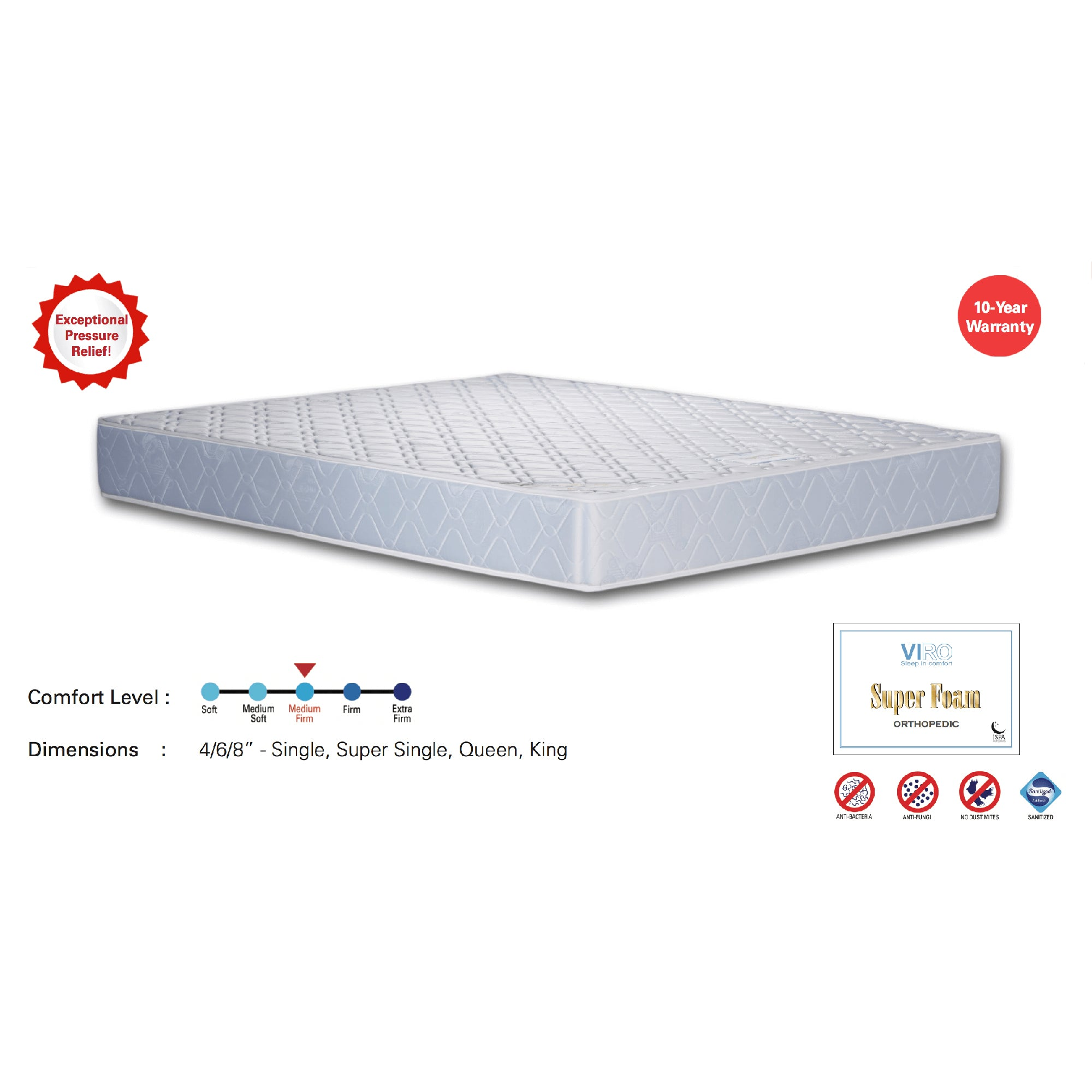 Viro Super Foam Quilted Mattress (3.5 Feet Super Single Size x 8