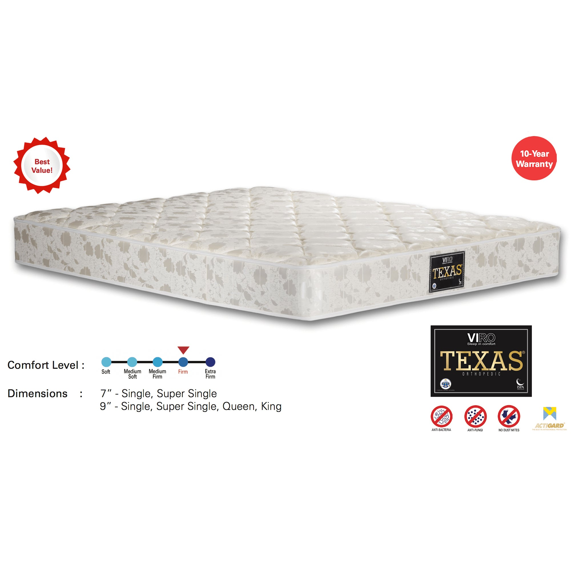 Viro Texas Spring Mattress (3.5 Feet Super Single Size x 9