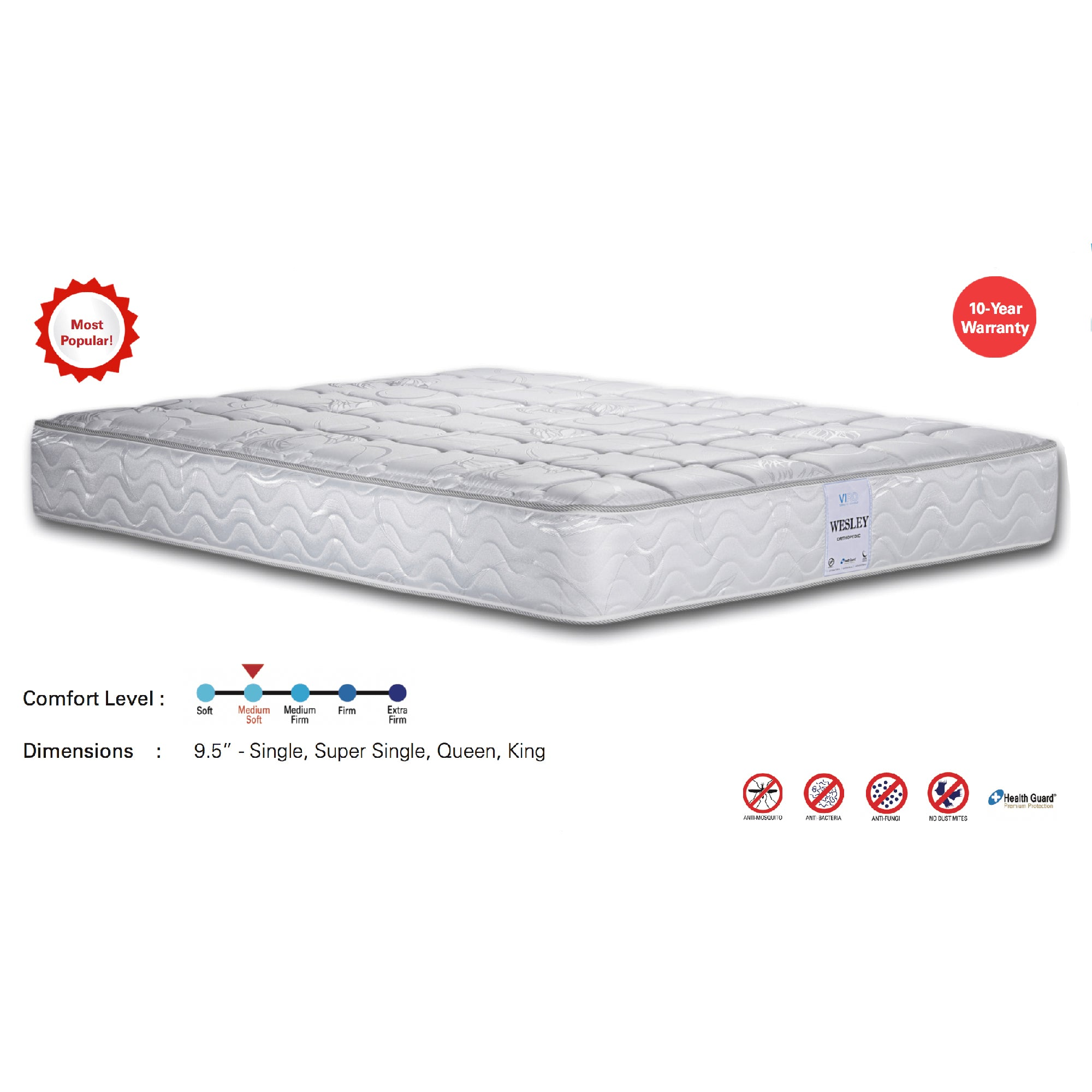 Viro Wesley Spring Mattress (3.5 Feet Super Single Size x 9.5