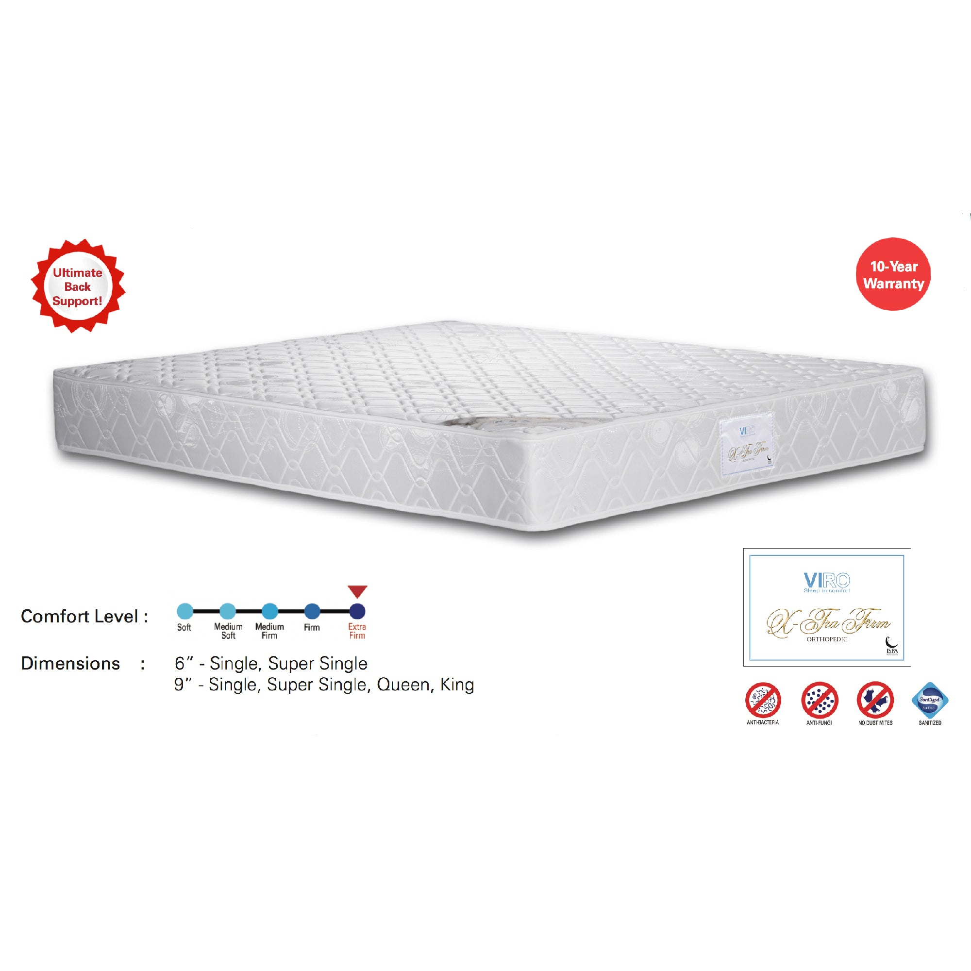 Viro X-Tra Firm Spring Mattress (3.5 Feet Super Single Size x 6