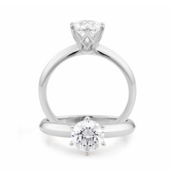Diamond 6 Claw Solitaire Engagement Ring - 1793V100-18WDC-GVS2