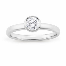 Diamond Bezel Set Solitaire Engagement Ring - 1761-18WD-3