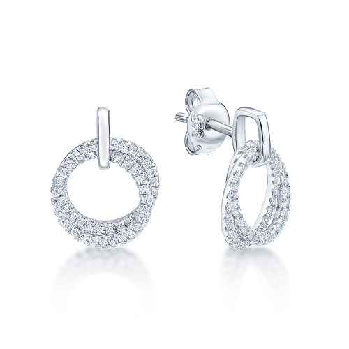 Silver CZ Circle Earrings