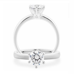 Diamond 6 Claw Solitaire Engagement Ring - 2105V100-PLATDC-GSI2