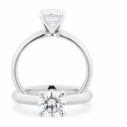 Diamond 4 Claw Solitaire Engagement Ring - 1929V100-18WDC-GVS2
